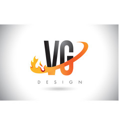 Vg v g letter logo with fire flames design and vector