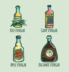 Vinegar icon set hand drawn style vector