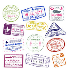 Visa stamps bright design collection vector