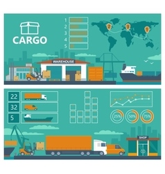 Warehouse ship truck car -Logistic infographics vector image
