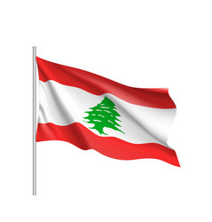 Waving flag of lebanese republic vector