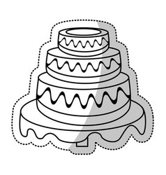 Wedding cake sweet outline vector