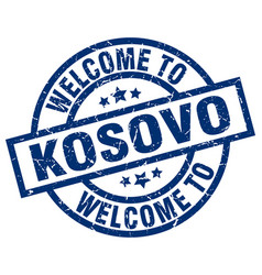 Welcome to kosovo blue stamp vector