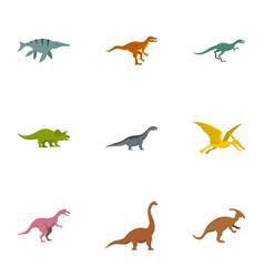 wild dinosaur icons set flat style vector image