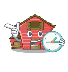 With clock a red barn house character cartoon vector
