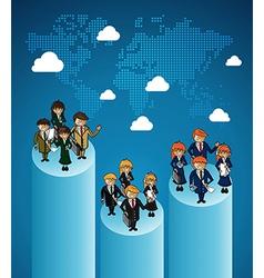 World map business teamwork ranking vector image