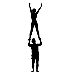 Black silhouette two acrobats show stand on hand vector