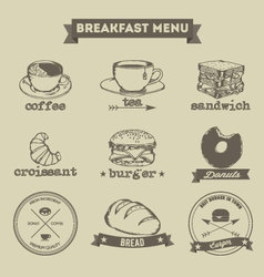 Breakfast Menu Hand Drawing Style vector image