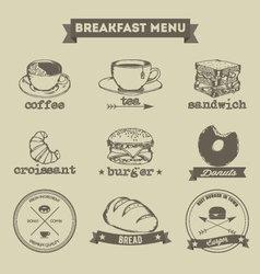 Breakfast Menu Hand Drawing Style vector image vector image