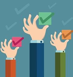 Check box concept Hands holding check box vector image