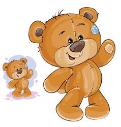 clip art art teddy bear waving vector image vector image