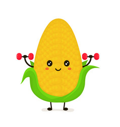 funny happy cute smiling corncob vector image