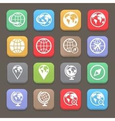 Globe earth flat icon set vector image vector image