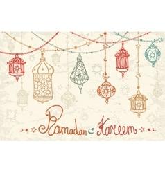 Lantern garland of Ramadan KareemDoodle card vector image