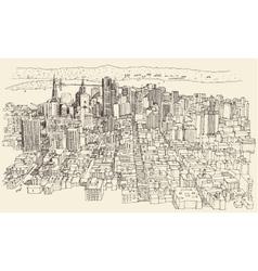 San Francisco City Architecture Vintage Engraved vector image