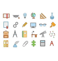 School elements colorful icons set vector image