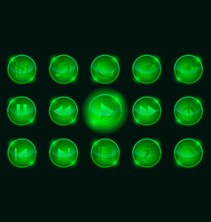 set of green media player buttons vector image