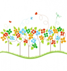 spring trees vector image vector image