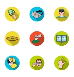 Virtual reality set icons in flat style Big vector image vector image