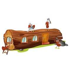 Ants and a wood house vector image vector image