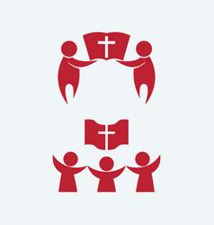 Believers united by jesus christ vector