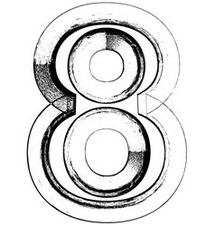 Grunge font number 8 vector image vector image