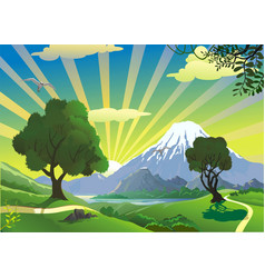 landscape - the view from the hill on the volcano vector image