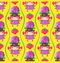 seamless colorful pattern with blackberry fruit vector image vector image