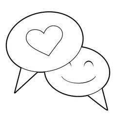 Speech bubble heart icon outline style vector