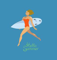 surfer girl running with surfboard hello summer vector image