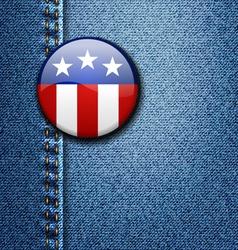 American Flag Emblem Badge On Jeans Denim vector image vector image