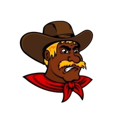 Cartoon moustached cowboy with leather hat vector image vector image