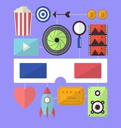 Cinema movie entertainment flat design object vector