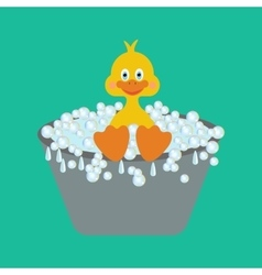 Duckling takes a bath vector image