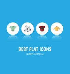 flat icon dress set of casual foot textile vector image vector image