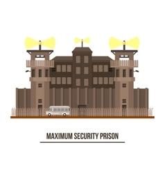 Maximum security prison with prisoner vehicle vector image