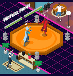 Virtual fight isometric vector