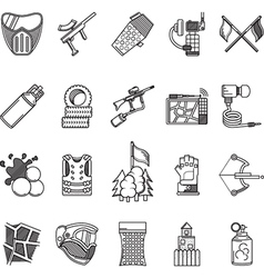 Black line icons collection for paintball vector image