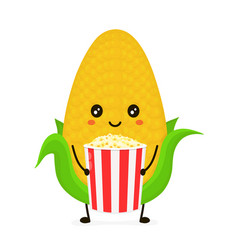 funny happy cute smiling corncob vector image vector image