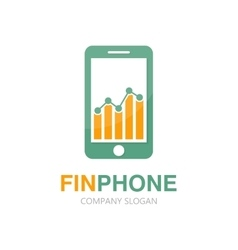 logo combination of a graph and phone vector image vector image