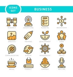 Set line icons of business vector image