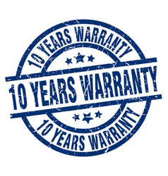 10 years warranty blue round grunge stamp vector image