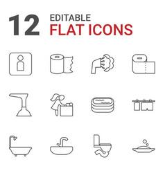 12 bathroom icons vector