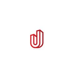 3d u initial company logo vector image