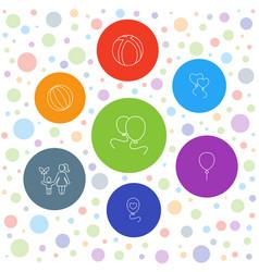 7 balloon icons vector