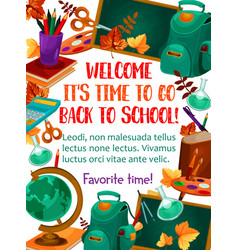 back to school stationery study poster vector image