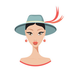 beautiful young asian woman in stylish hat fashion vector image