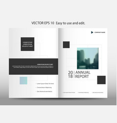 Blue geometric square annual report brochure vector