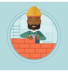 Bricklayer building brick wall vector