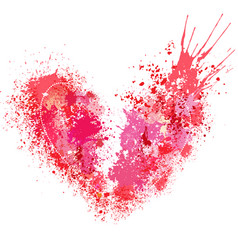 broken heart made of spray and drops vector image